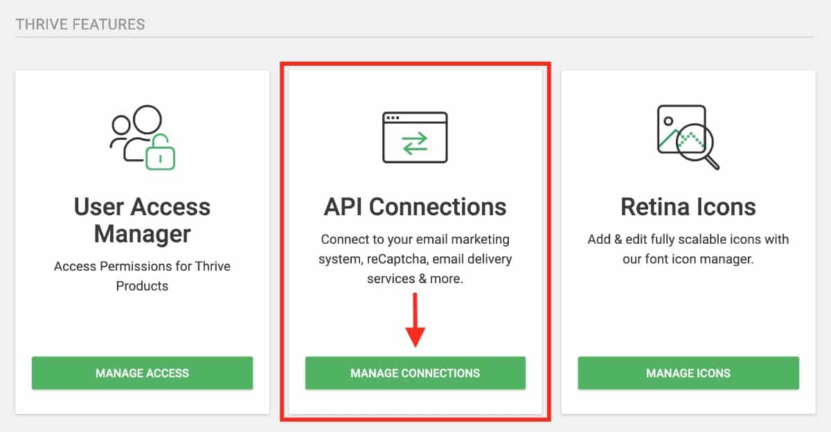 Thrive Api Connections - Manage Connections